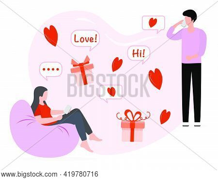 Vector Illustration Man And Woman Talking By Smart Phone. People During Romantic Relationships  Rela