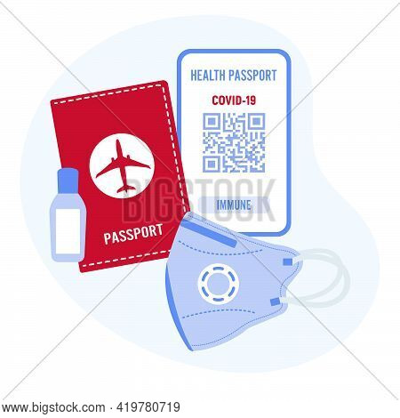 Vector Illustration 2021 Travel Health Passport Mandatory Covid Test Medical Mask Disinfectant New N