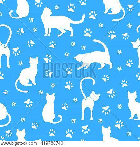 Vector Seamless Pattern Illustration With Fun Cat. Animal Background. Health Care, Vet, Nutrition, E