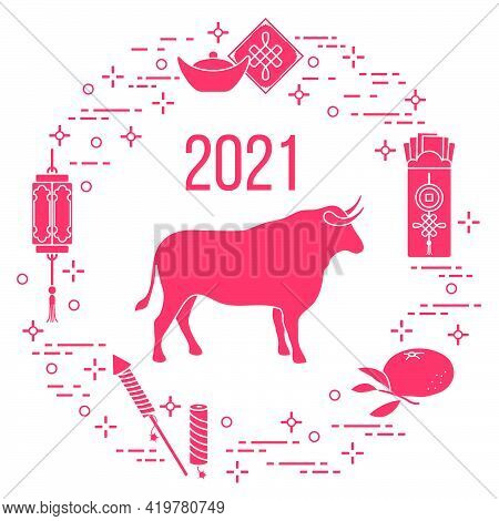 Happy New Year 2021 Vector Illustration Bull, Chinese Lantern, Tangerine, Envelope, Fireworks, Ingot