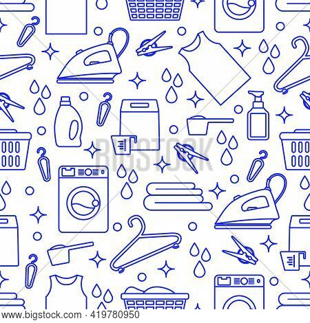 Vector Seamless Pattern Illustration Laundry Cleaning Service Washing Machine, Laundry Basket, Deter
