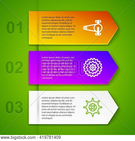 Set Line Bicycle Chain With Gear, Cassette And Sprocket Crank. Business Infographic Template. Vector