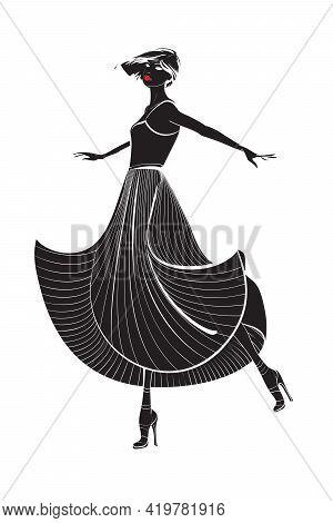 Dancing Girl In A Long Dress. Woman Silhouette.