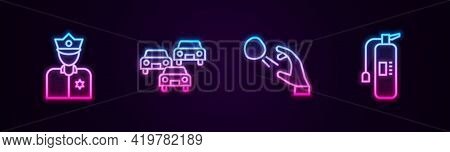 Set Line Police Officer, Traffic Jam, Hooligan Shooting Stones And Fire Extinguisher. Glowing Neon I