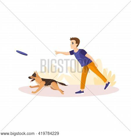 Vector Illustration In Cartoon Style Isolated On White Background. Man Throwing Frisbey To His Pet.
