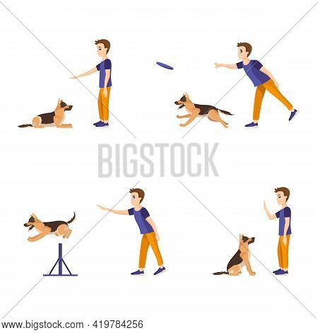 Boy Training His German Shepherd. Teaching Different Commands. Set Of Vector Illustrations Isolated