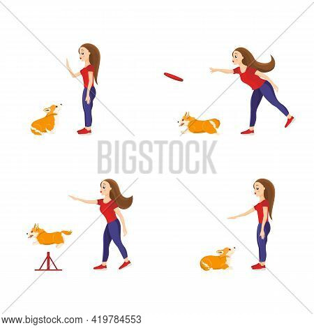 Girl Training Her Welsh Corgi Pet Teaching Different Commands. Set Of Vector Illustrations Isolated
