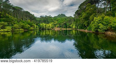 Lagoa Azul In Sintra, Lisbon Portugal. Blue Lagoon, Lake With Beaches And Green Trees Around
