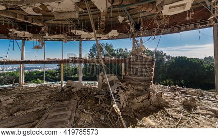 Abandoned Restaurant In Monsanto, Lisbon. Panoramic View Over The City On Sunny Day.