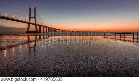 Bridge Vasco Da Gama Sunrise Lisbon Portugal