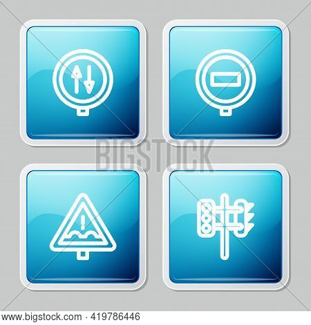Set Line Road Warning Two Way Traffic, Stop Sign, Uneven Road Ahead And Traffic Light Icon. Vector