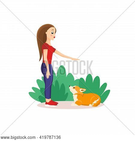 Vector Illustration In Cartoon Style Isolated On White Background. Woman Training Welsh Corgi Outdoo