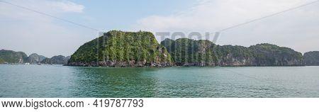 Beautiful natural cliffs in Ha Long Bay at the Gulf of Tonkin of the South China Sea, Vietnam.