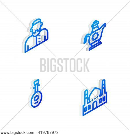 Set Isometric Line Islamic Teapot, Muslim Man, Lute And Mosque Icon. Vector
