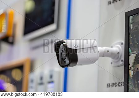 Moscow, Russia - 14 April 2021 : Video Surveillance Systems At The Stands Of Various Companies At Th