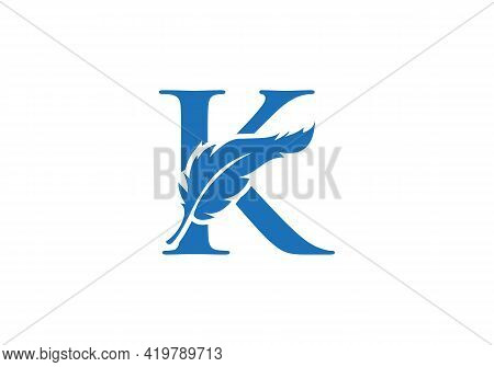 Feather Logo Design  With K Letter Vector. Law Logo With Feather And K Letter