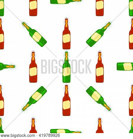 Illustration On Theme Seamless Beer Glass Bottles With Lid For Brewery. Pattern Beer Consisting Of M
