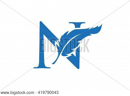 Feather Logo Design  With N Letter Vector. Law Logo With Feather And N Letter