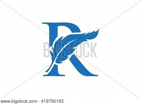 Feather Logo Design  With R Letter Vector. Law Logo With Feather And R Letter