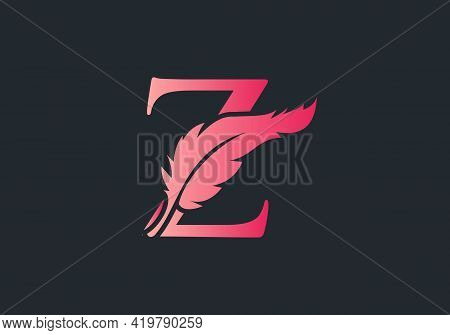 Feather Logo Design  With Z Letter Vector. Law Logo With Feather And Z Letter