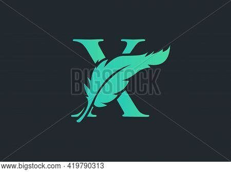 Feather Logo Design  With X Letter Vector. Law Logo With Feather And X Letter