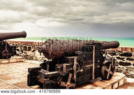 Old Cannon At Sohail Castle In Fuengirola, Near Malaga Spain. Tourist Attraction. Intersting Place T