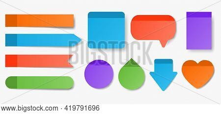Collection Of Colorful Sticky Notes. Square, Round, Heart, Drop, Speech Bubble Shapes Isolated On Wh