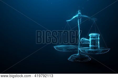 Scale Icon Hammer Of Justice In The Law And Justice. Low Poly Schemes, Particles, Lines, And Triangl