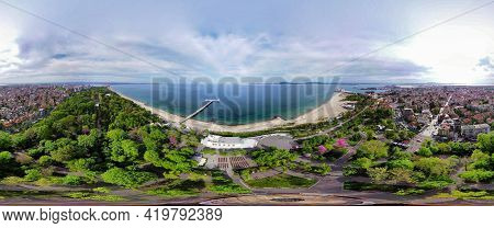 Beautiful 360 Degree Panoramic View Of The Burgas Bay And The Burgas Sea Garden, Bulgaria.