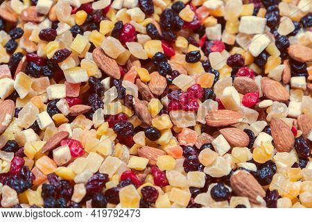 Mix Of Candied Fruits, Nuts And Raisins For A Quick Bite (selective Focus, Vintage Photo Effect)