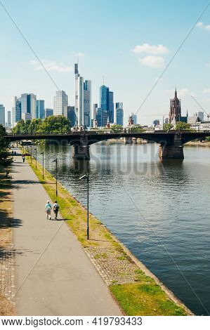 Frankfurt, Germany - August 22,2015 : View Of River Main With Skyscrapers In The Background In Frank