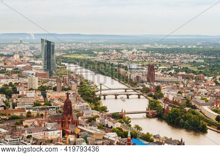 Frankfurt, Germany - August 28,2015 :panorama Of Frankfurt Am Main City In Germany, With The River M
