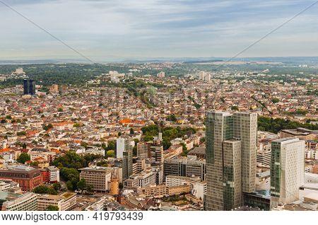 Frankfurt, Germany - August 28,2015 : Aerial View Of Frankfurt Am Main ,germany
