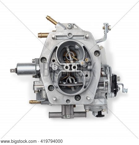 Top View Of Car Carburetor For Internal Combustion Engine For Mixing Air With A Fine Spray Of Liquid