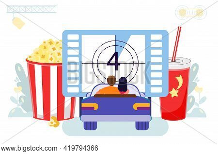 Drive-in Movie Theater With Open Air Parking Flat Style Movies Vector Illustration Couple In Love Wa