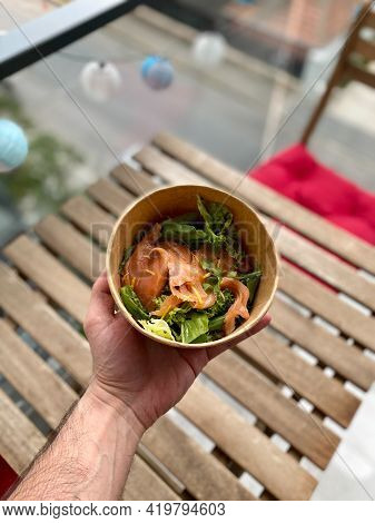 Take Away Salmon Salad Clean Eating Diet Concept. Vegeterian Seafood Bowl With Smoked Salmon Gravlax