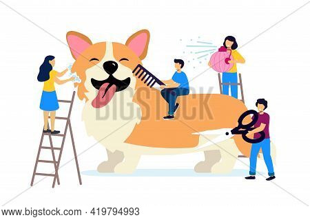 Professional Groomer Services Vector Illustration In Flat Cartoon Style Pet Hair Salon Styling And G