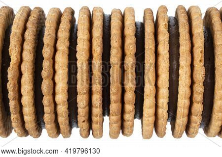 Top View Of Baked Cookies Isolated On White Background. Desserts With Chocolate Cookies. Baked Choco