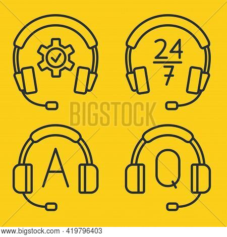 Hotline Support Service With Headphones. Concept Of Consultation, Telemarketing, Assistance, Call Ce