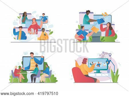 Video Conference Theme And Diverse Multiracial Team In Online Call. Set Of Flat Cartoon Vector Illus