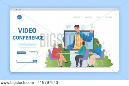 Illustrated Video Conference Theme And Diverse Multiracial Business Team In Online Call. Flat Cartoo