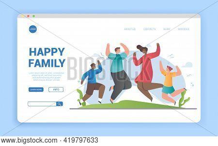 Smiling Diverse Family Dancing Having Fun Outdoors. Joyful Parents And Kids Jump And Demonstrate Dan