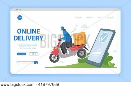 Fast Delivery By Scooter On Mobile. E-commerce Concept. Online Food Order Infographic. Flat Cartoon