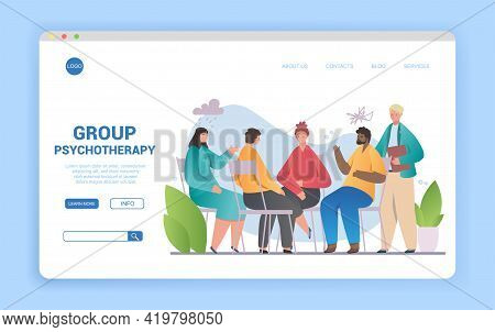 Group Psychotherapy, People Counseling With Psychologist, Persons In Psychotherapist Session. Psycho