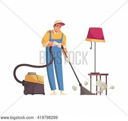 Professional Cleaner Tidying Up In Apartment Flat Vector Illustration