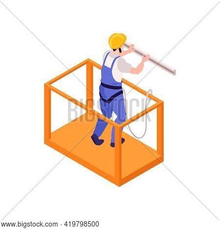 Ironworker Wearing Safety Harness In Construction Cradle 3d Isometric Vector Illustration