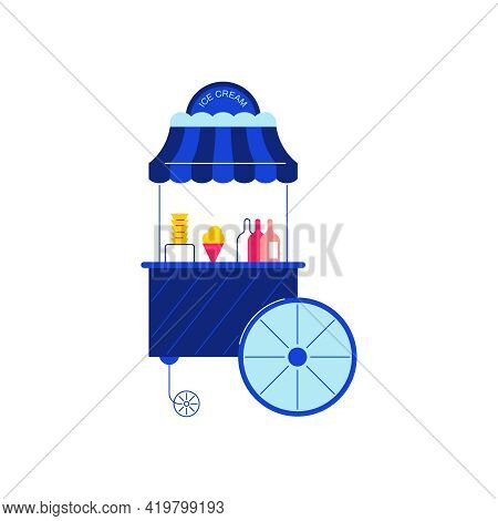 Circus Funfair Composition With Isolated Image Stall Selling Ice Cream Vector Illustration