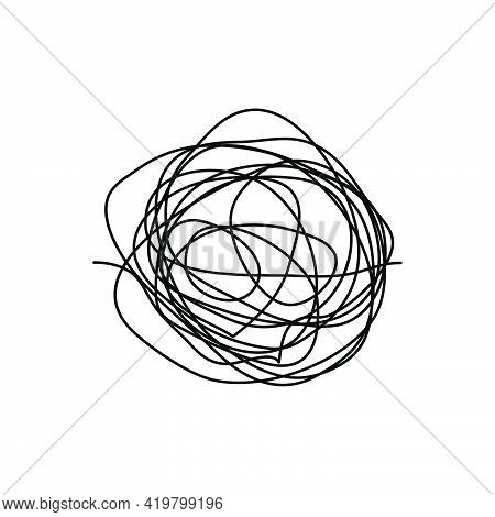 Chaotic Line. Complicated Way With Scribbled Round Element. Pass Way Linear. Chaos Symbol. Vector Il