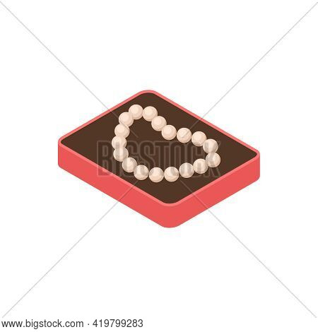 Pawn Shop Isometric Composition With Isolated Image Of Beads In Case Vector Illustration