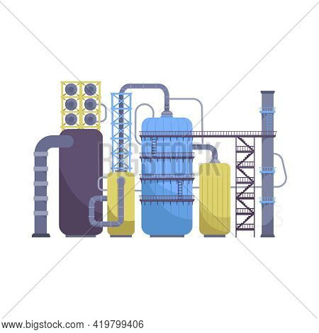 Oil Industry Flat Composition With View Of Oil Refinery Plant Machinery With Tubes And Tanks Vector